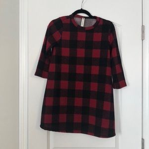 Red and black plaid tunic